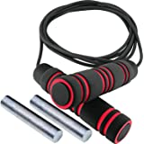 Weighted Jump Rope - (1LB) Solid PVC for Crossfit and Boxing - Heavy Jump Rope with Memory Non-Slip Cushioned Foam Grip Handl