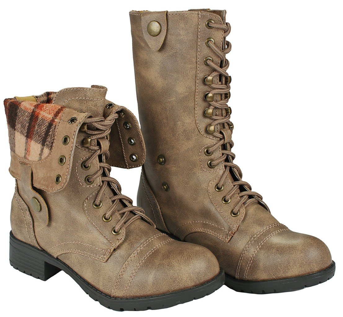 Women Holly-7 Taupe Military Combat Foldable Cuff Faux Leather Plaid/Quilted Back Zipper Lace Up Boots-8.5 by JJF Shoes (Image #2)