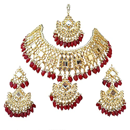 Meena Kundan Best Quality Bridal Wedding Design Gold Plated Jewelry Necklace Set