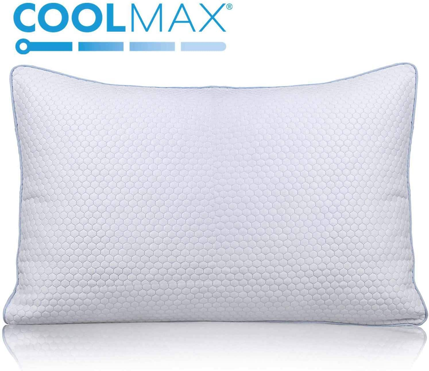 Cooling Shredded Memory Foam Bed Pillow for Sleeping- Adjustable to Thick Thin - Pillow for Side Back Sleepers with Cool Breathable Cotton Case - Soft Firm Support for Therapeutic Neck Pain,Queen Size