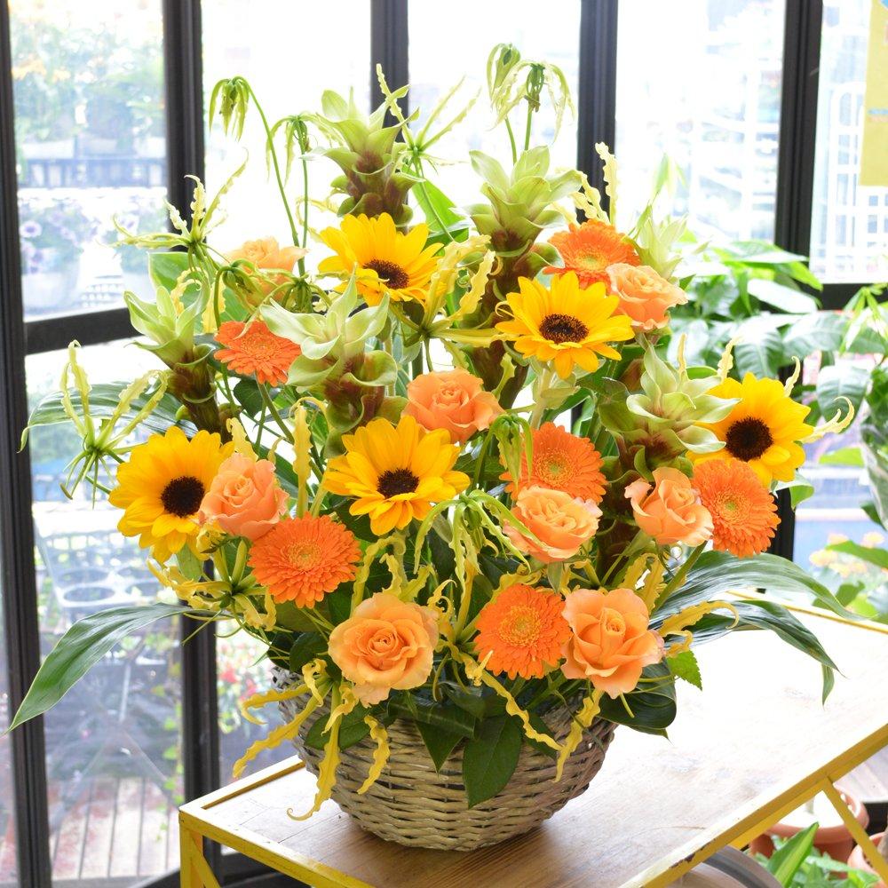 [エルフルール]【立て札可】フラワーギフト カラーが選べる 店長おまかせお祝い花 移転祝い 開業祝い 開店祝い 開院祝い (イエローオレンジ系) B01GMZ9WDM イエローオレンジ系 イエローオレンジ系