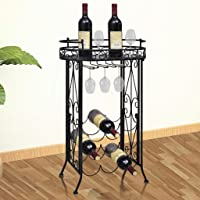 Metal Wine Rack Wine Table with Hooks for 9 Bottles wrought iron Powder coated in black