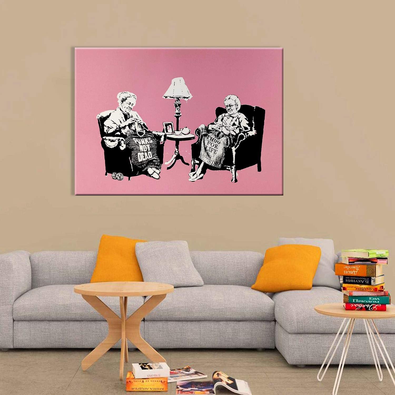 Banksy Stampa su Vetro Acrilico Plexiglass Cucina 70x50 cm Quadri Moderni arredo casa Design Nonne Vari Formati XXL Giallobus Quadro Pronto da Appendere