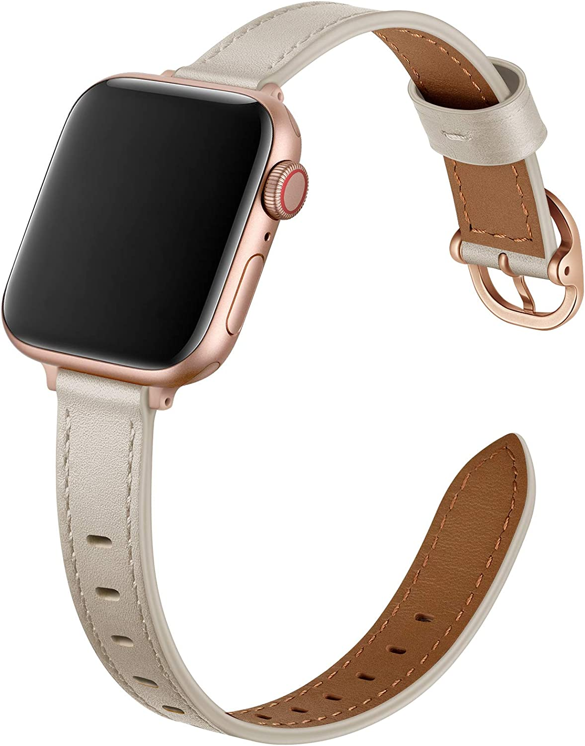 OUHENG Slim Bands Compatible with Apple Watch Band 40mm 38mm 44mm 42mm, Women Genuine Leather Thin Band Replacement Strap for iWatch SE Series 6 5 4 3 2 1 (Ivory White/Rose Gold, 40mm 38mm)