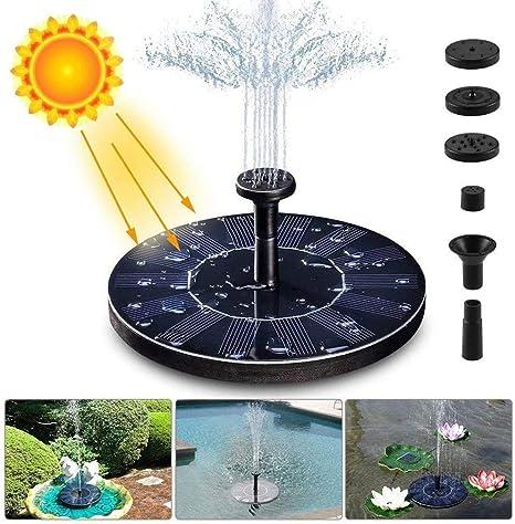 XIUDADA Fuente Solar Bomba de Agua Solar para Fuente 1.4W 7V Flotante Bomba Fuente Jardin con 4 Boquillas del Agua Rociada hasta 30-50cm de Altura para Fuente Piscina JardíN Estanque,Negro: Amazon.es: Deportes
