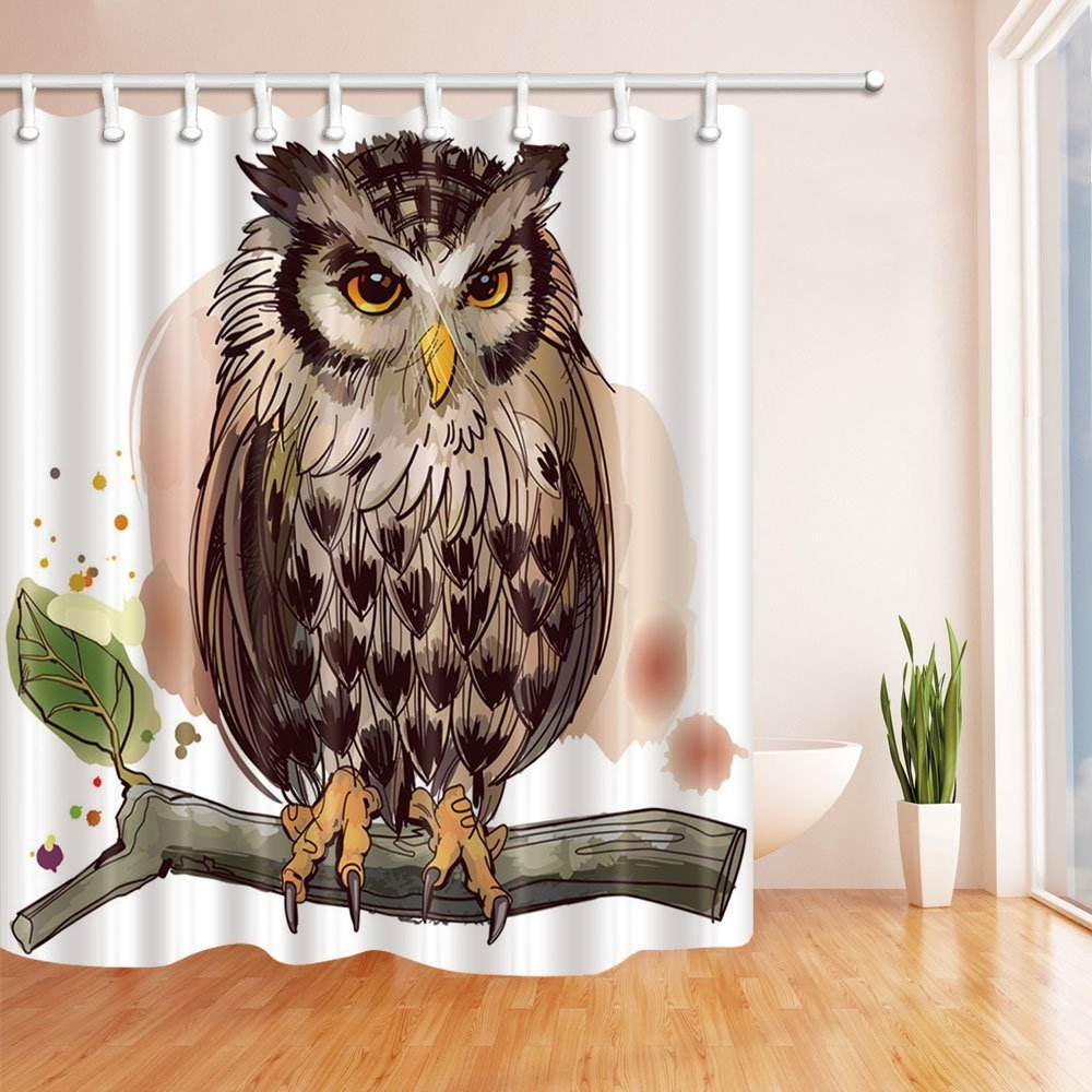 Nyngei Owls Home Decor Collection Owl Stand On Branches Shower Curtain  70.8X70.8 Inches Mildew Resistant Polyester Fabric Bathroom Fantastic  Decorations ...