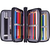 Newcomdigi 72 Inserting Super Large Capacity Multi-layer Students Pencil Case, Pen Bag Pouch Stationary Case Portable Makeup Cosmetic Case Bag(black)