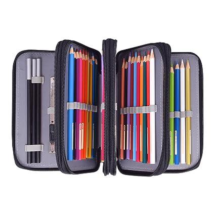 Newcomdigi Estuche Bolso Caja de Lapices Colores 72 Ranuras Portálapices Organizador de Alta Capacidad para Lapices de Colorear Dibujo Acuarela Arte ...