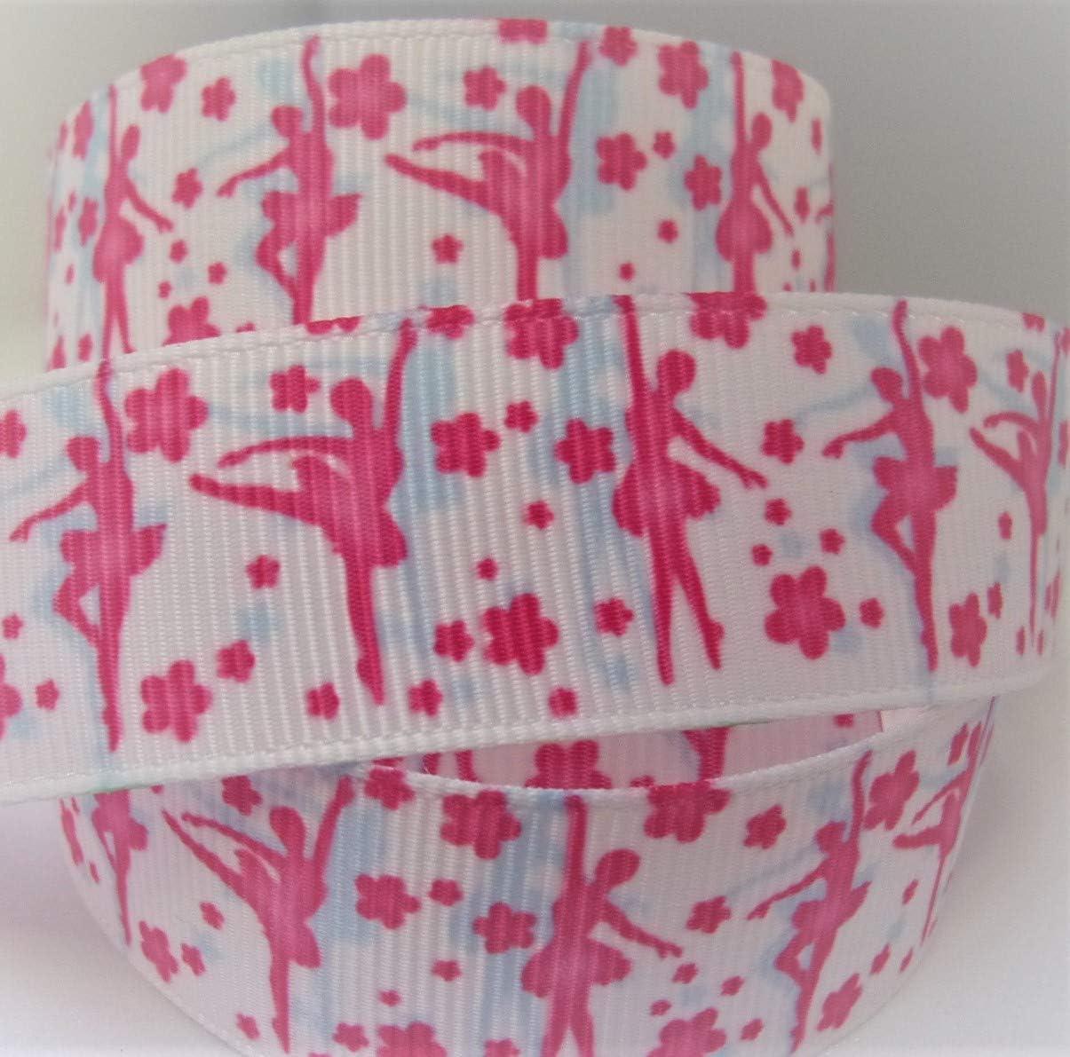 Grosgrain Ribbon - Pink Ballerina Print - 7/8