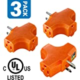 3-Outlet Tap Extender,Kasonic UL Listed Heavy Duty Triangle Tap, T-shaped Adapter, Grounded, AC Power, 125 Volt (3 PACK)