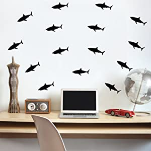 "Set of 21 Vinyl Wall Art Decals - Shark Patterns - 3"" x 7"" Each - Cool Adhesive Sticker Shapes For Boys Toddlers Teens Bedroom Playroom Living Room Home Apartment Decorations (3"" x 7"", Black)"