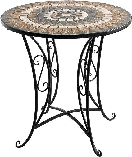 Amazon De Wohaga Mosaik Gartentisch Rund O70x71cm Braun Grau Mosaiktisch Beistelltisch Bistrotisch Balkontisch Eisen Keramik