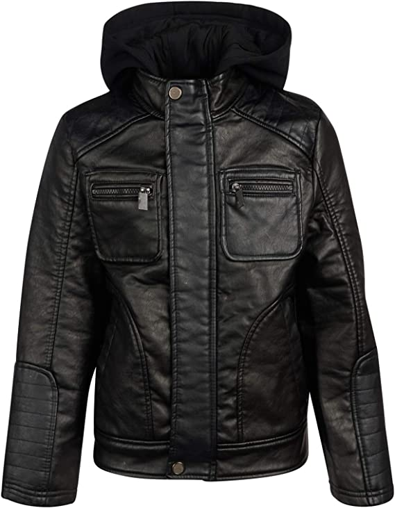 Urban Republic Boys Artsy Faux Leather Jacket with Fleece Hoodie