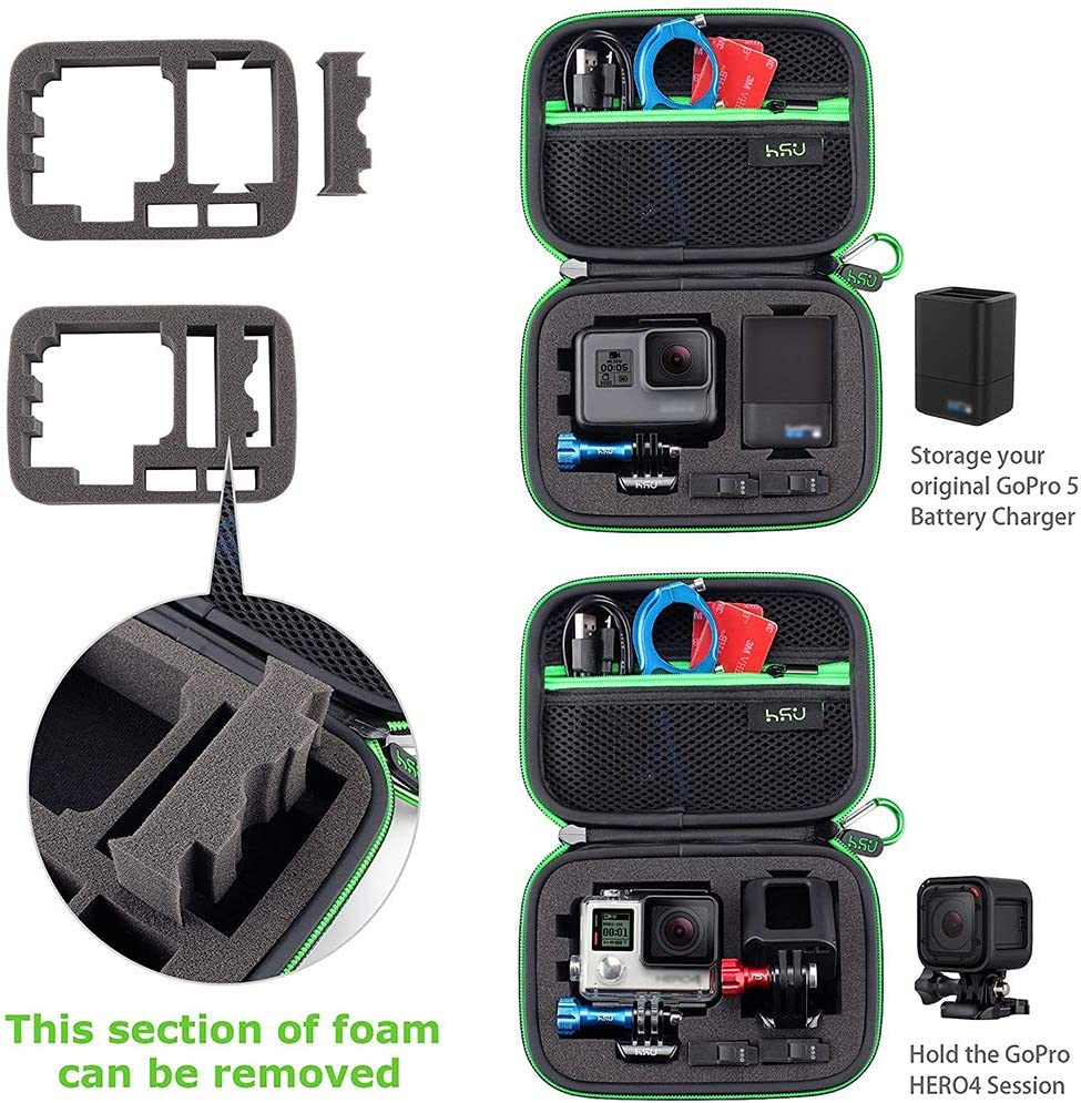 Hero 6,5 4 2 and Accessories 7 Black 3+ Compact and Safe Action Camera Travel Storage Solution for Adventurers Middle Protective Carrying Case for GoPro Hero 2018 LCD 3 Black Hero 8