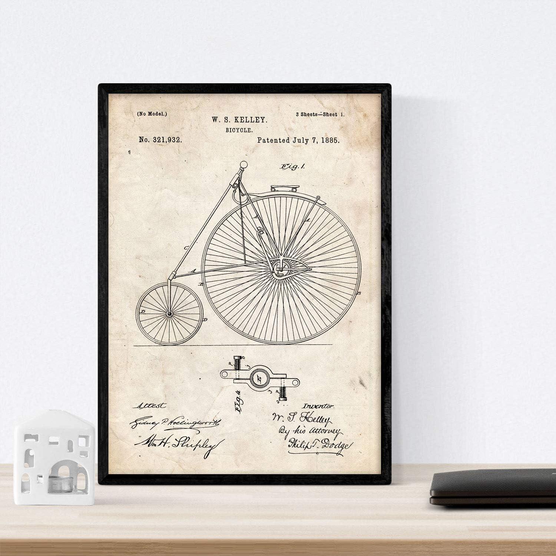 Nacnic Poster con Patente de Bicicleta 2. Lámina con diseño de Patente Antigua en tamaño A3 y con Fondo Vintage: Amazon.es: Hogar