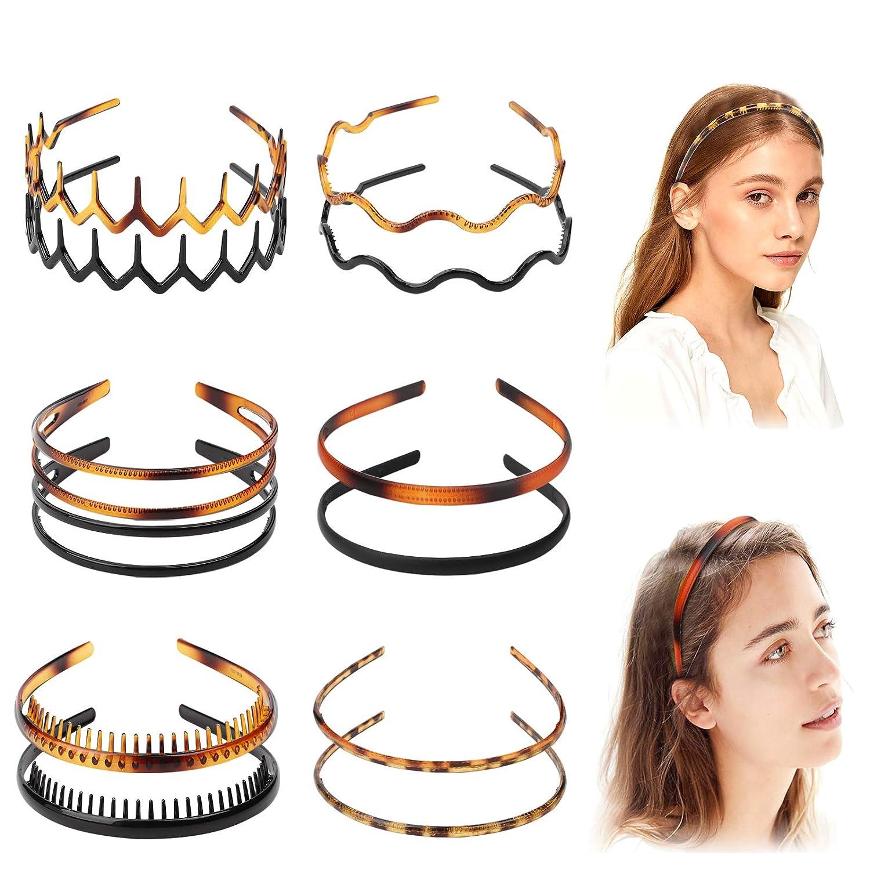 Diademas de pl/ástico negro para ni/ñas y mujeres sin dientes 20 unidades lisos de pl/ástico