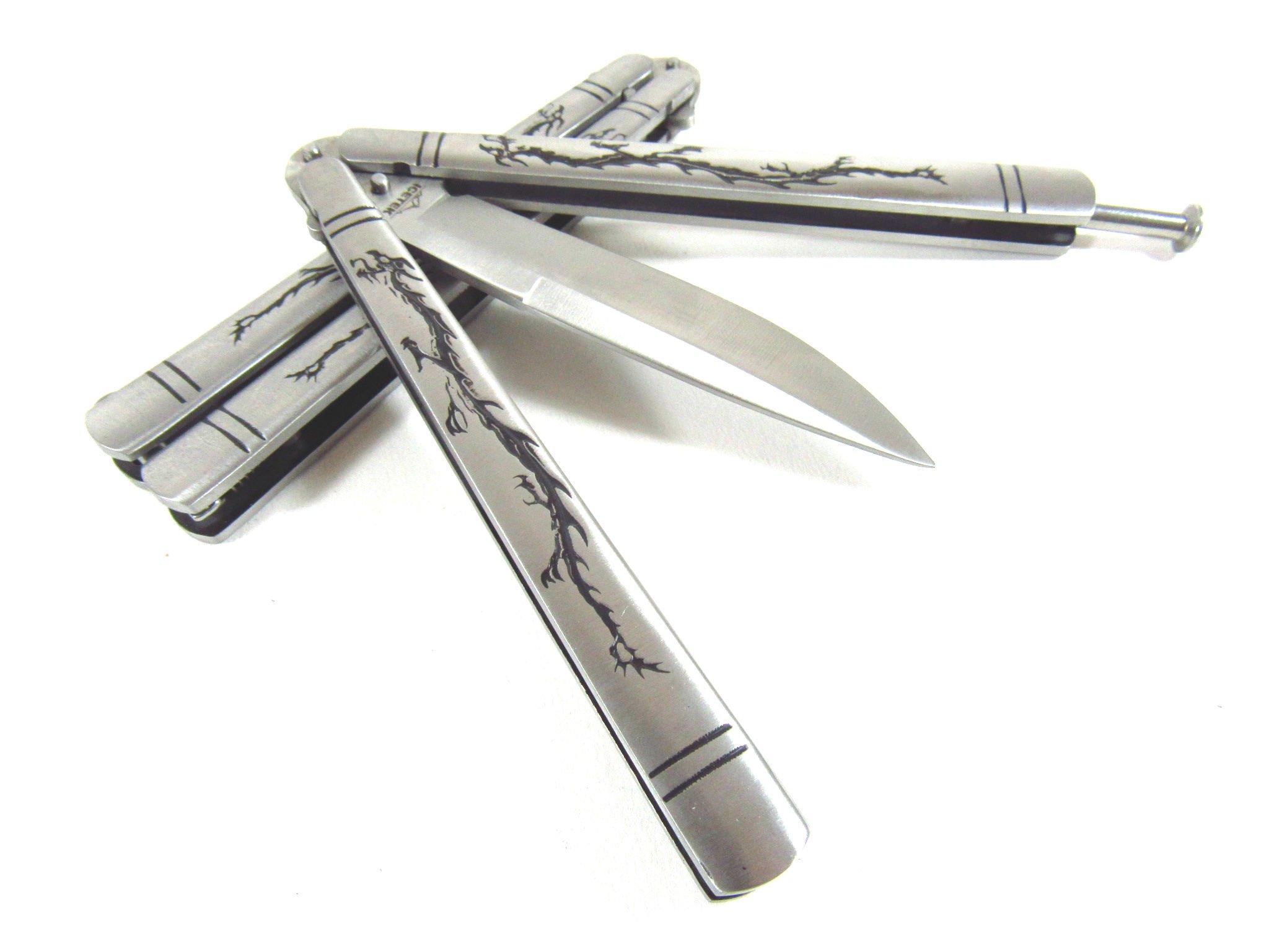 Icetek Sports Deluxe Dragon Metal Steel Practice Balisong Butterfly Knife Tra.. 6