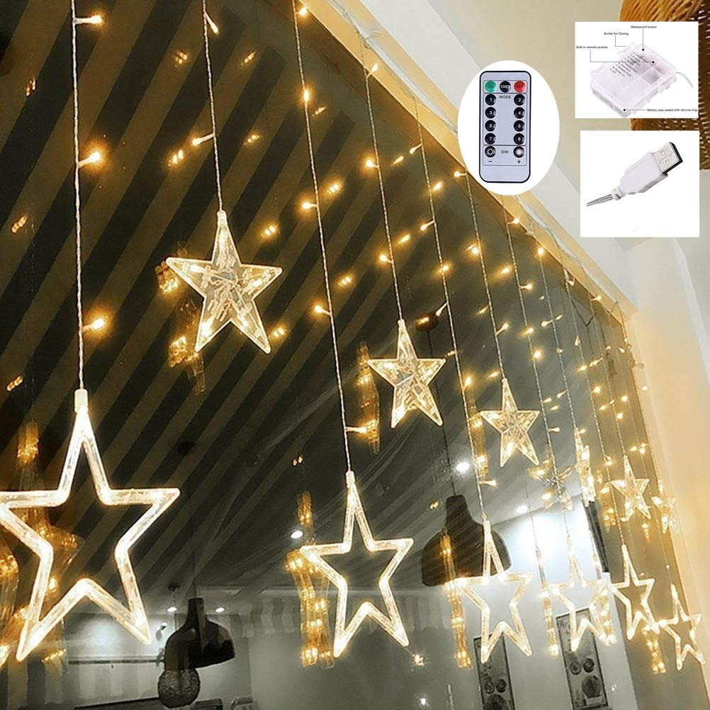 Weepong Star Curtain Lights, 3xAA Batteries/USB Operated Window Curtain Lights with Remote 12 Star 138 LED Icicle Lights String, Fairy Star Lights for Bedroom Wall Party Wedding Christmas (8 Modes)