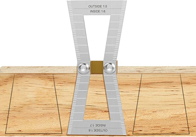 Housolution Dovetail Marker Stainless Steel Hand Cut Wood Joints Gauge Dovetail Guide Tool With Scale Dovetail Template Size 1 5 1 6 And 1 7 1 8 For