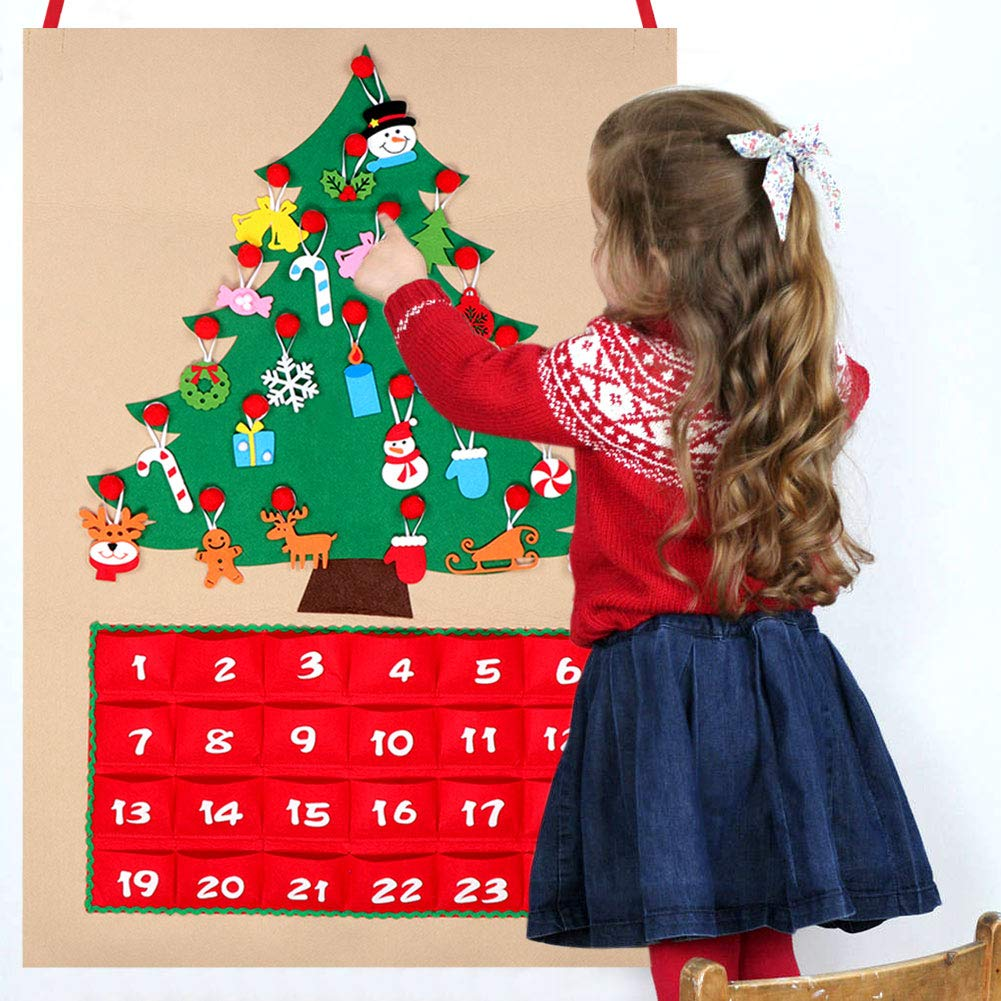 OurWarm Felt Christmas Tree Advent Calendar with Pockets and Christmas Ornaments 24 x 35 Inch Countdown to Christmas Wall Hanging Calendar Xmas Gift for Christmas Decorations 1S-GL-KDS-24-1