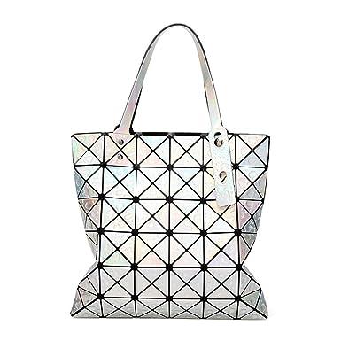 Damenmode Geometrische Tasche Gefaltet Umhängetasche,White-OneSize ADEFG