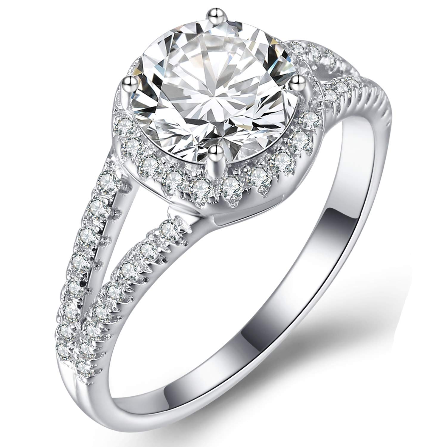 e911dbf995501 Caperci Sterling Silver Split Shank Round Cubic Zirconia Solitaire Halo  Engagement Ring