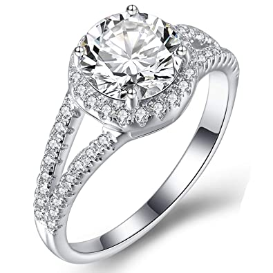 d64aa9c4b Caperci Sterling Silver Split Shank Round Cubic Zirconia Solitaire Halo  Engagement Ring Size 5