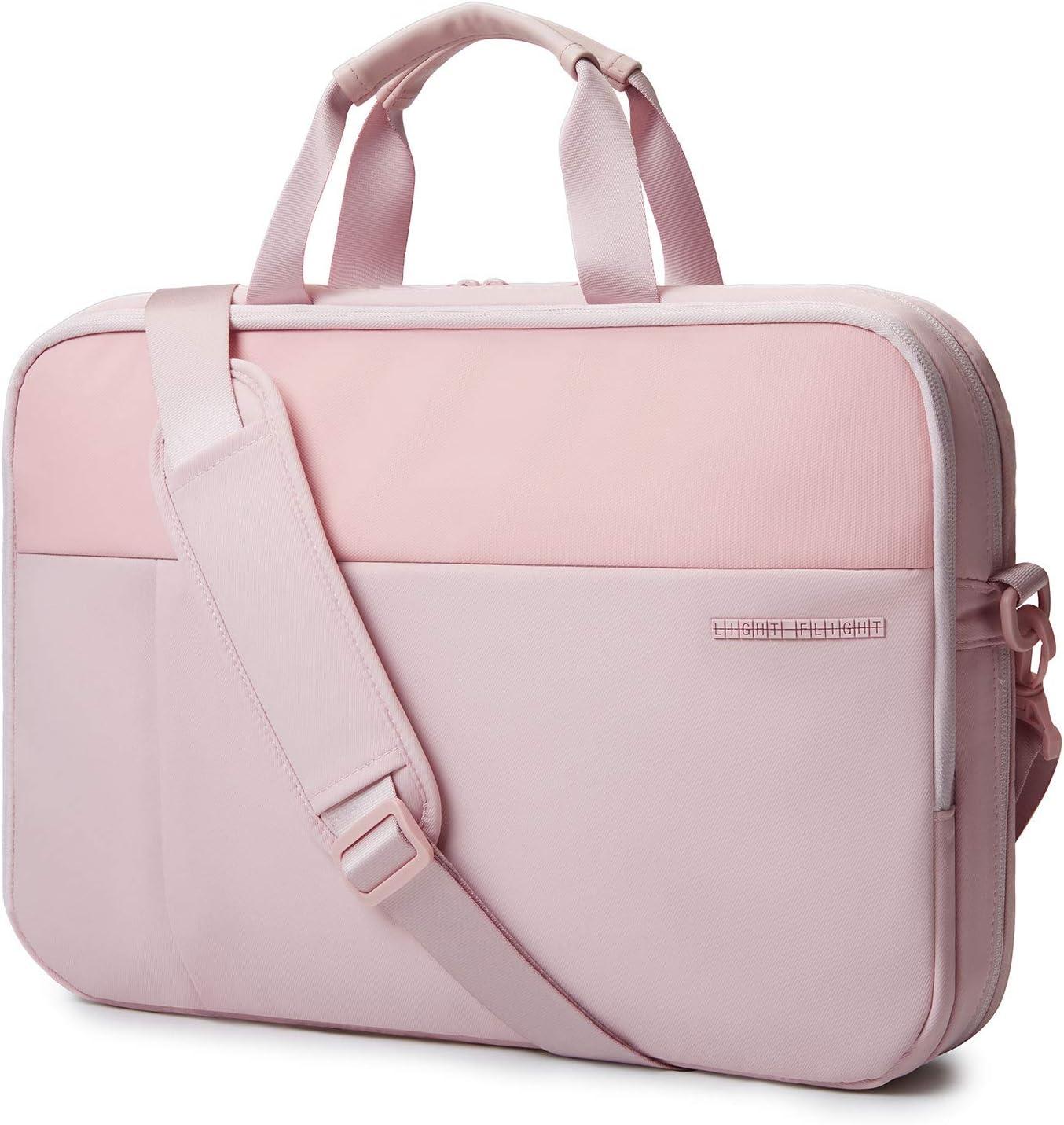 Laptop Bag,LIGHT FLIGHT 15.6 Inch Expandable Briefcase for Men Women,Slim Laptop Bag for Computer,Water Resistant Business Bag,Pink