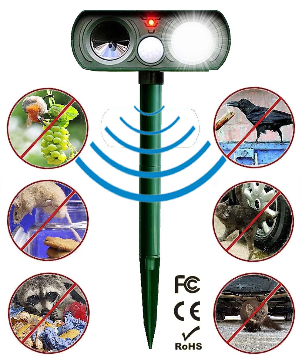 Animal Pest Repeller, Solar Powered Ultrasonic Animal Repellent, New Upgraded Outdoor Waterproof Pest Control with Strobe Light, Repels Cats, Raccoons, Birds, Rodents, Skunks, Foxes, Dogs, Squirrels