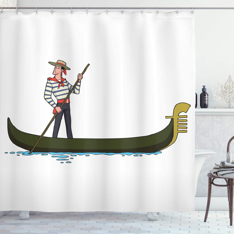Ambesonne Cartoon Shower Curtain, Image of Gondola in Romance City Venice European of Love Italian Design, Cloth Fabric Bathroom Decor Set with Hooks, 70