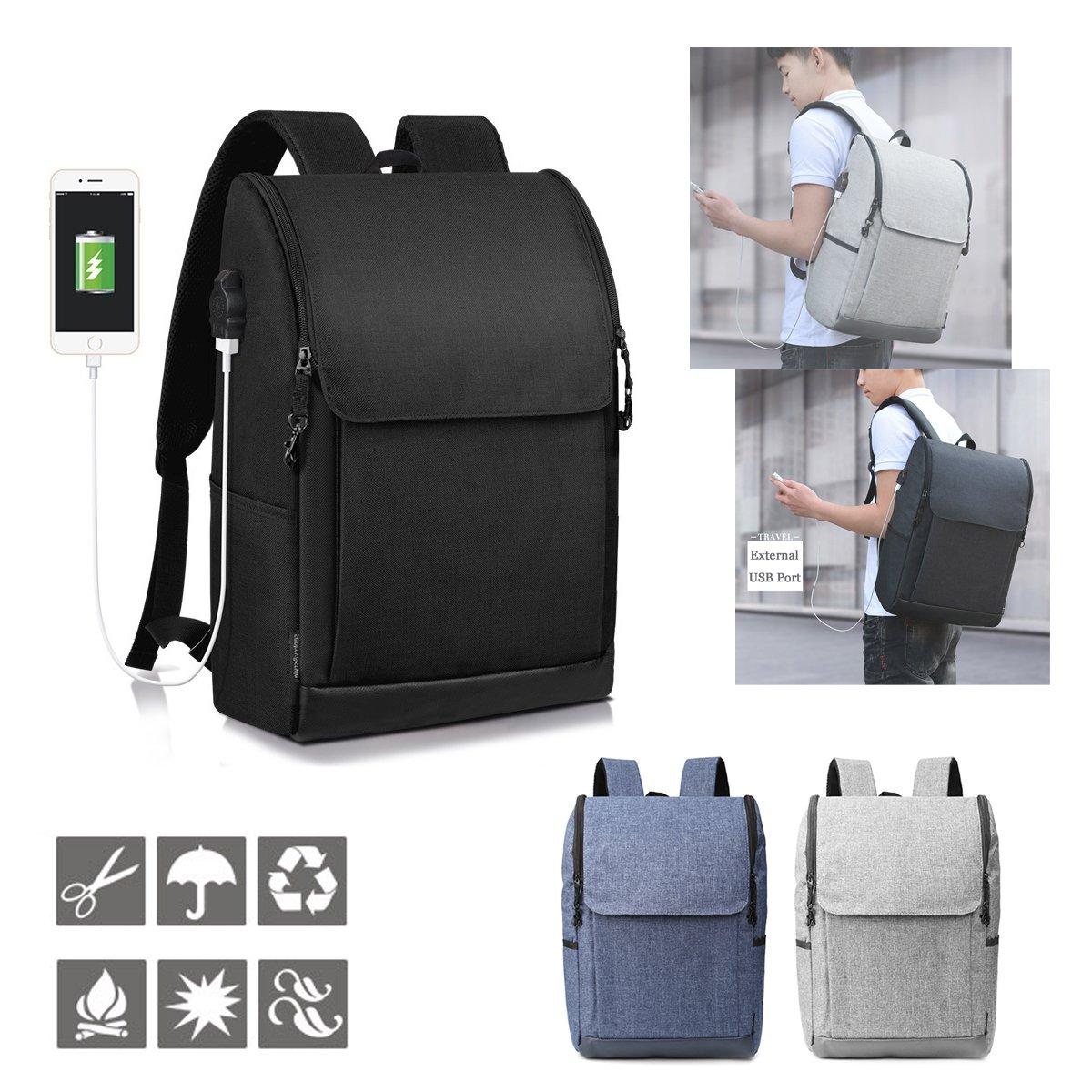 ランフィー USB の充満港の防水ラップトップ旅行リュックサックのランドセルが付いている盗難防止のバックパック B07CWMP7R4黒