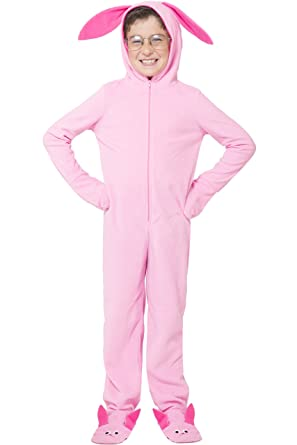 a christmas story kids ralphie deranged pink bunny onesie hooded pajama pink