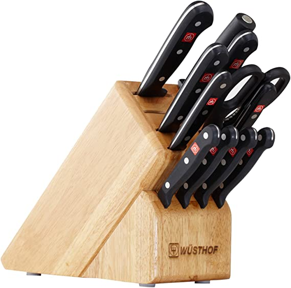 WÜSTHOF Gourmet Twelve Piece Block Set | 12-Piece German Knife Set | Precise Laser Cut High Carbon Stainless Steel Kitchen Knife Set with 13 Slot Wood ...