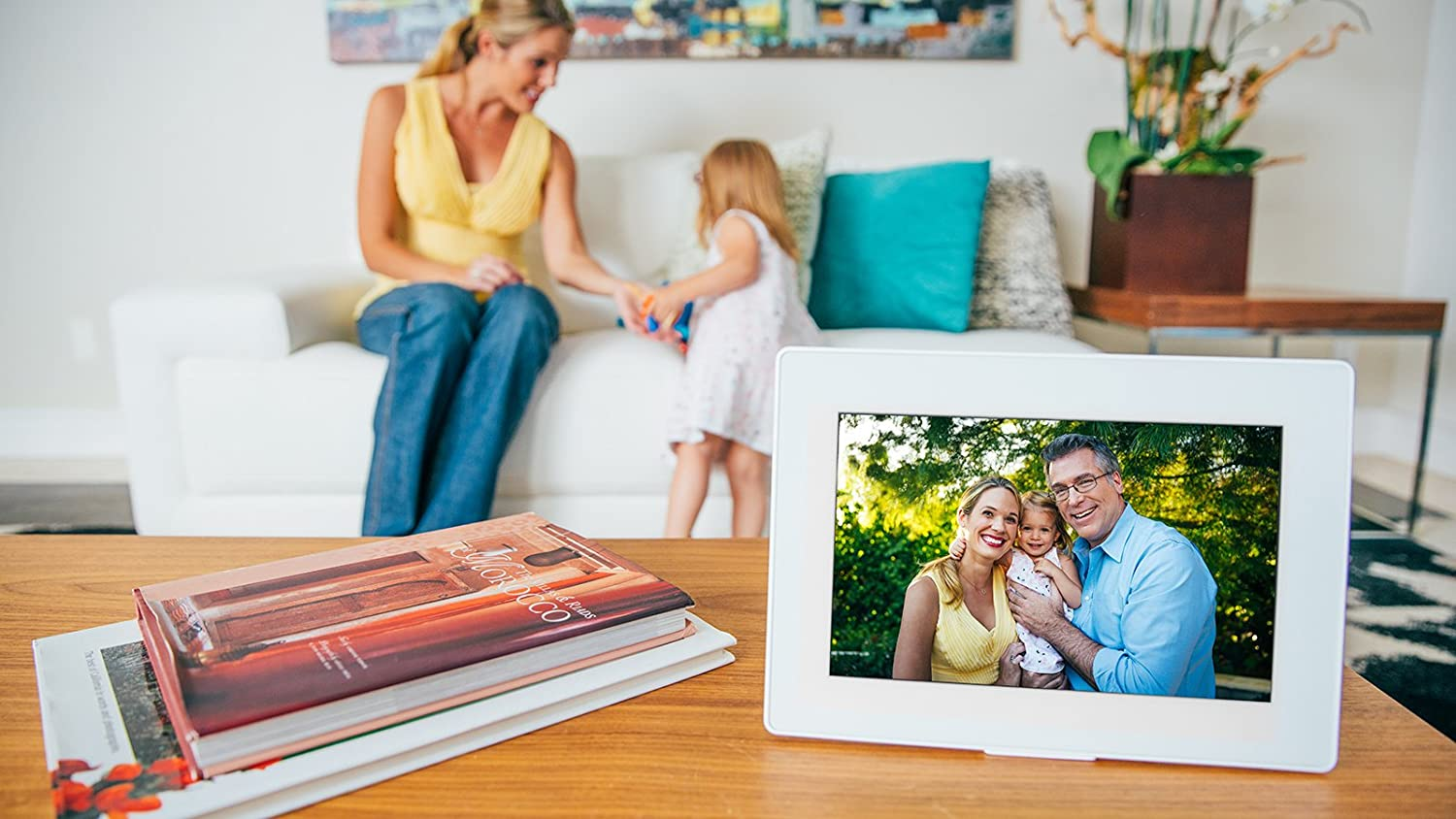 iPhone /& Android app Touch-Screen 10-inch WiFi Cloud Digital Picture Frame White - 65,000 Photos PhotoSpring Plays Video and Photo Slideshows 64GB Battery HD IPS Display