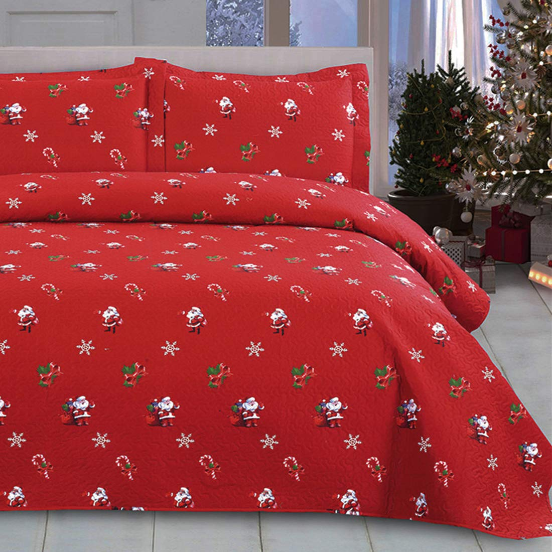 Oliven Christmas Quilts Set Twin Size Bedspreads Coverlet Set,Lightweight Blanket Reversible Bed Cover 3D Cartoon Christmas Santa Claus Christmas Bedding Christmas Home Decor,Red