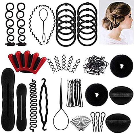 Juego de 40 herramientas para hacer moños de pelo, accesorios para trenzas de pelo,