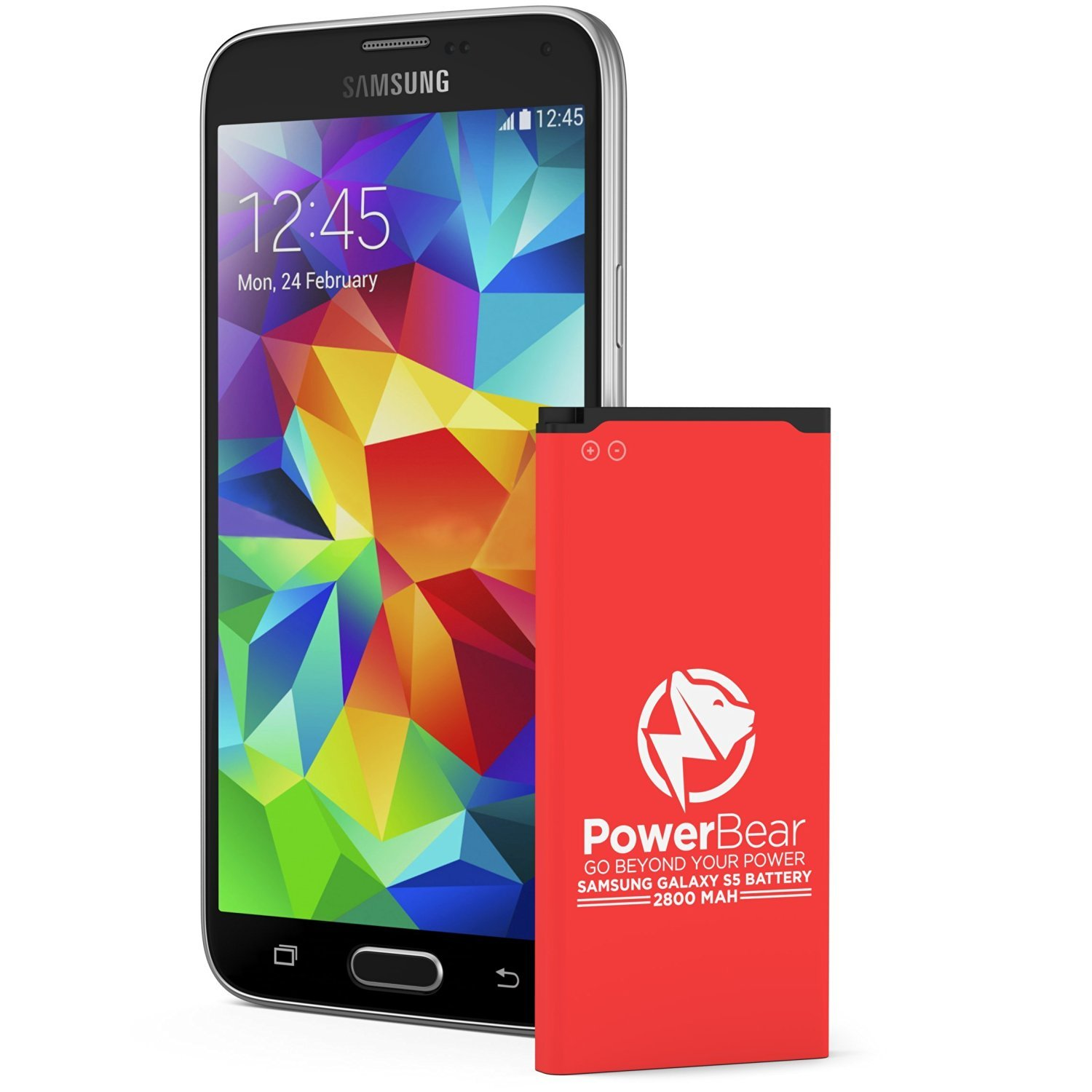 PowerBear Samsung Galaxy S5 Battery (2,800 mAh) UPGRADED Spare Battery for the Galaxy S5 [I9600, G900F, G900V (Verizon), G900T (T-Mobile), G900A (AT&T)] Replacement Battery [24 Month Warranty]
