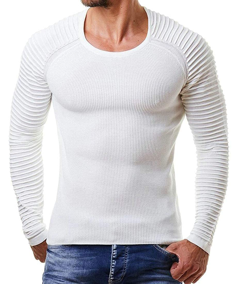 Hilization Mens Solid Knitting Stretchy Leisure Slim Fit Pullover Sweaters