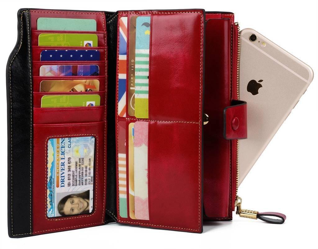 YALUXE Women's Wax Genuine Leather RFID Blocking Clutch Wallet Wallets for Women Red by YALUXE (Image #3)