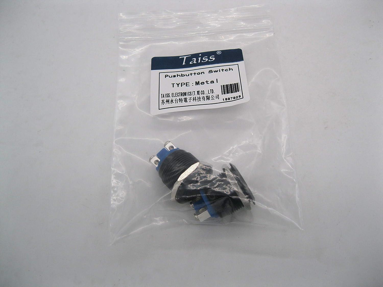 Taiss 2 St/ücke 19mm 3//4High Round Black Metal Momentary Druckschalter 1NO SPST 3A 12-250V f/ür Industrial Car Switch G-M19BK