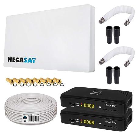 HB-DIGITAL SAT KOMPLETT Set: MegaSat Sat-Flachantenne Twin 2 Teilnehmer Direkt + 2X Recever + Fensterhalterung + 20m Kabel +