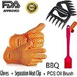 Keynice Silicone e Flessibili Gloves-heat Resistente+ un Paio di Pinze per Separare la Carne,Utensili da Cucina per le Vostre Esigenze di Cucina Interna e Esterna-Arancia