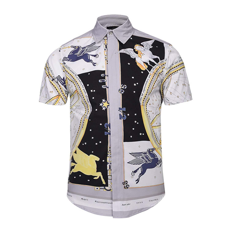 Hawaiian Shirts Summer Style Men Short Sleeve Floral Dress Shirts Unique Medusa Shirt Fashion 3D Print Luxury Button Down Shirts