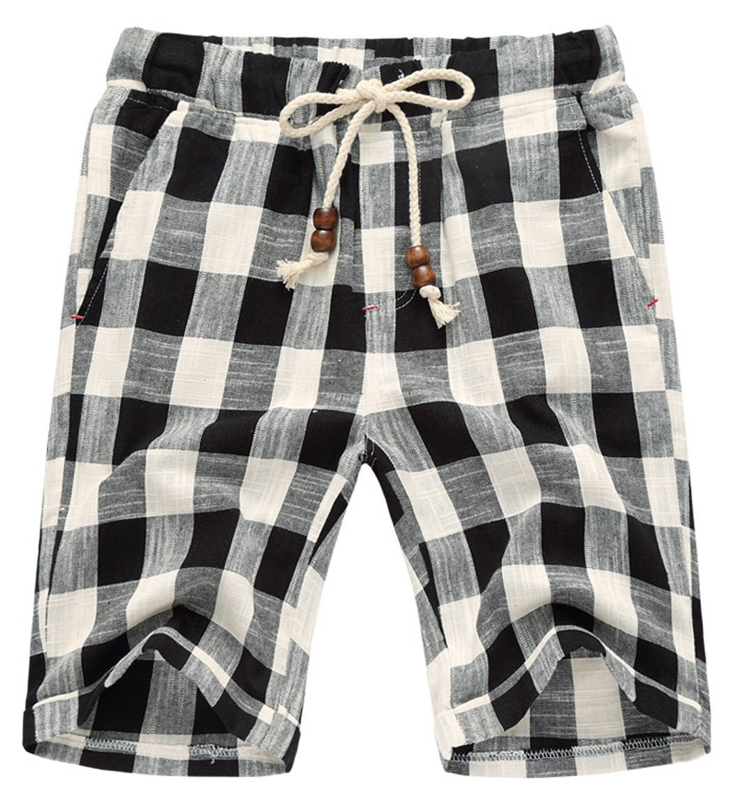 utcoco Men's Summer Drawstring Waist White-Black Plaid Slim Fit Chino Beach Shorts (Large, Black)