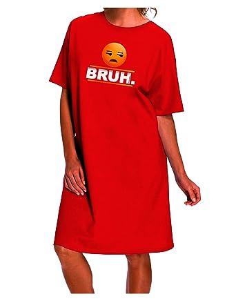 8025f431a0c Amazon.com  TOOLOUD Bruh Emoji Dark Night Shirt Dress - Red - One ...