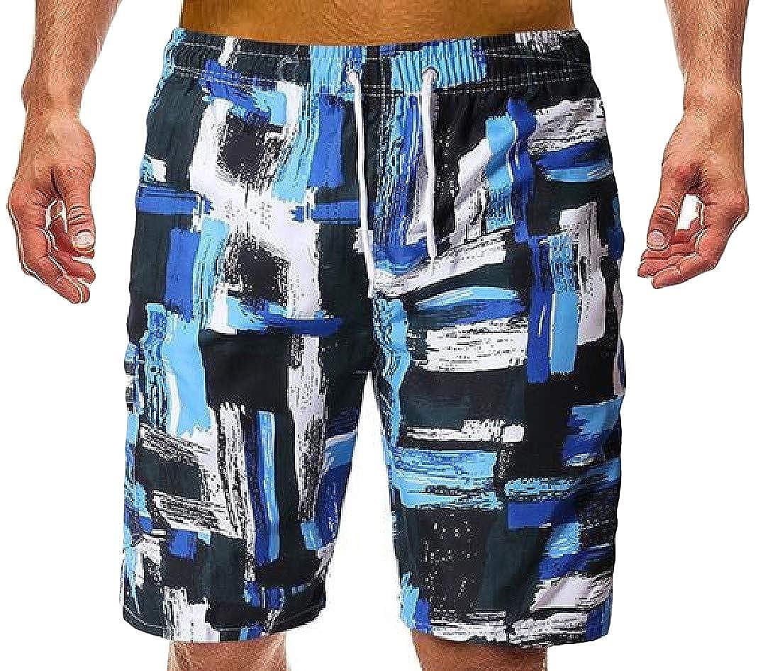 Cromoncent Mens Elastic Waist Contrast Color Quick Dry Print Board Beach Short