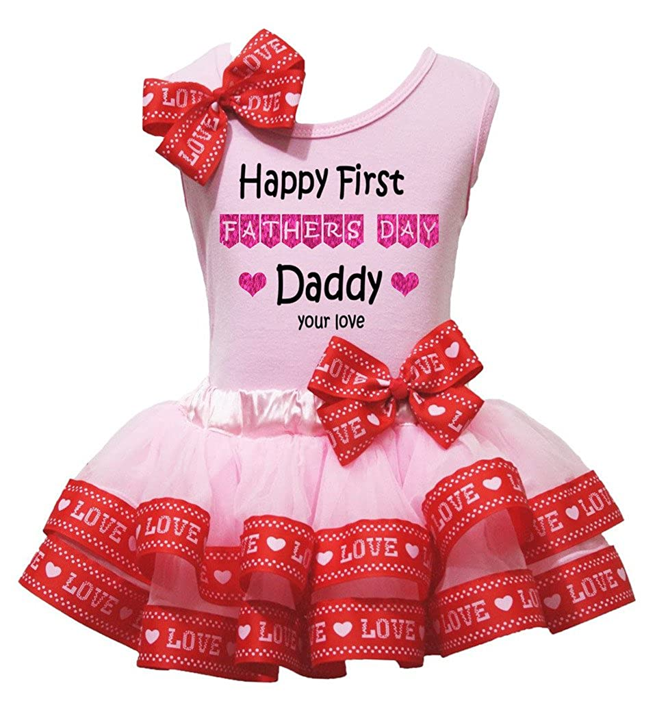 Petitebella Happy First Fathers Day Daddy Shirt Love Pink Petal Skirt Nb-2y