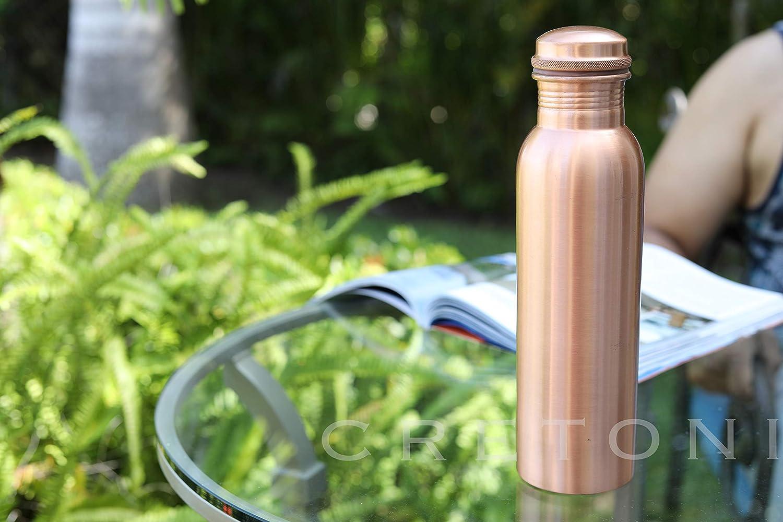 Cretoni Copperlin Agua Pura de Cobre Botella Prueba de Fugas Mate Martillado Seemless Dise/ño ayurv/édica Cobre Recipiente de Deportes 900 mililitro // 30 onzas