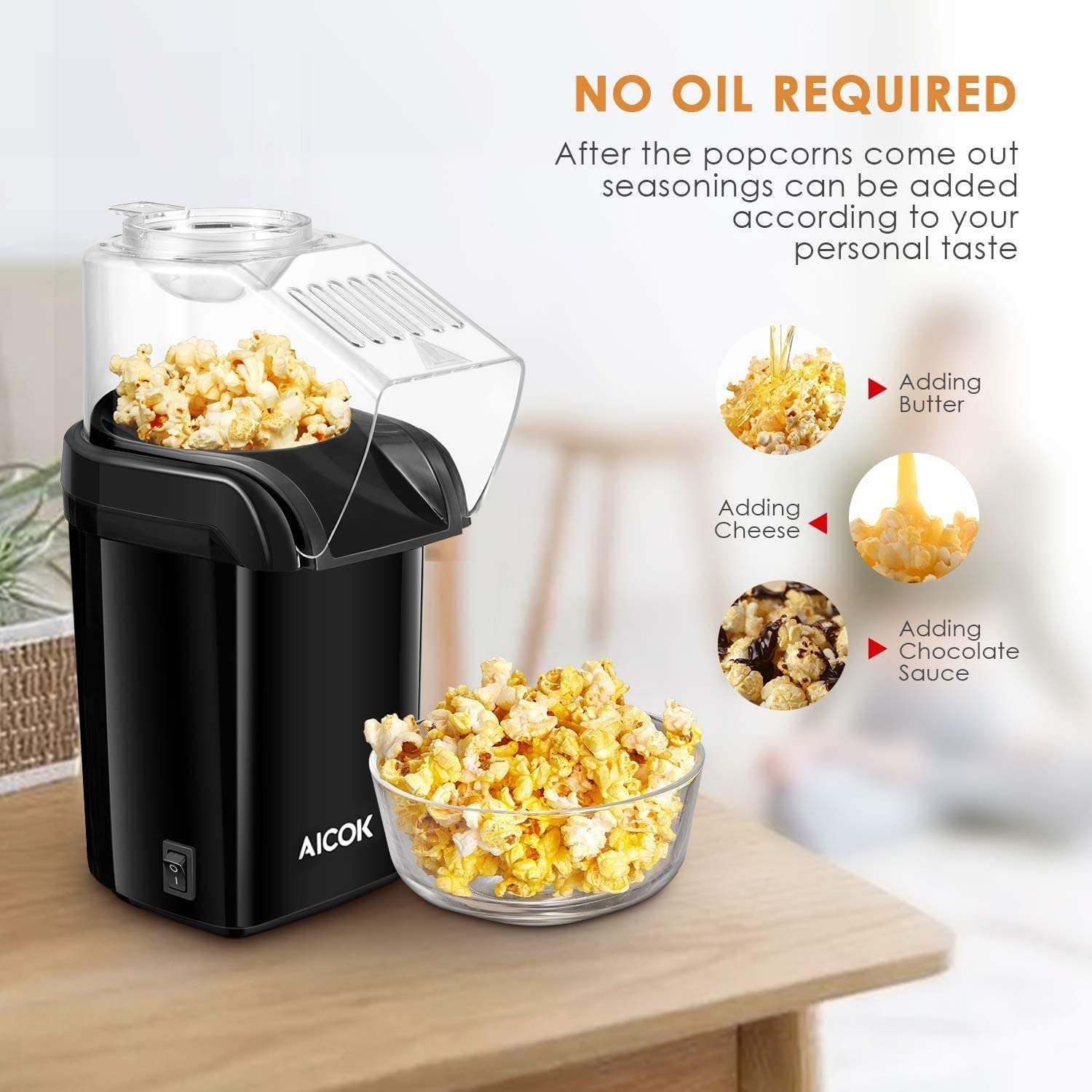 Measuring Cup Removable Lid Healthy and Fat-Free Popcorn Popper Hot Air Popcorn Maker Aicok 1200W Retro Popcorn Machine