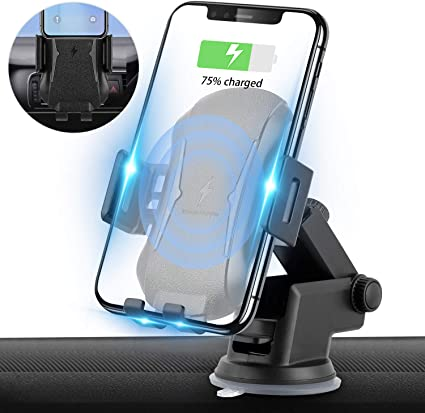 Compatible for iPhone Xs Max//XR//X//8//8Plus Samsung S9//S8//Note 8 10W Fast Charging Suction Cup+Air Vent Auto Clamping Wireless Car Charger